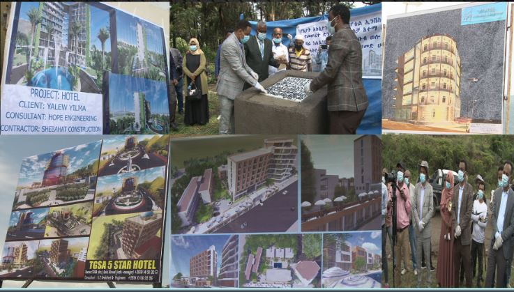 The foundation stone has been laid for the construction of 6 standard five star hotels with a capital of over 1.5 billion birr to create job opportunities for 1,447 people.